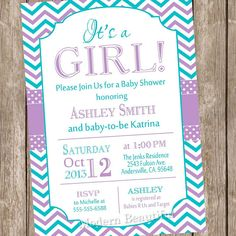 It's a girl baby shower invitationpurple teal by ModernBeautiful, $13.00