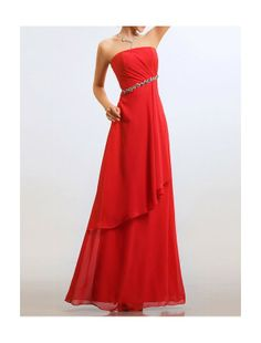 Chiffon Strapless Neckline A-Line Evening Dress