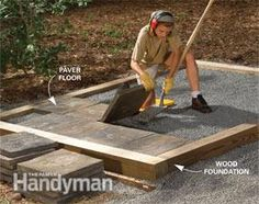 Here's a simplified floor and foundation for a garden shed. Pressure-treated lumber laid on a bed of gravel gives you a fast, easy foundation that will last for decades.