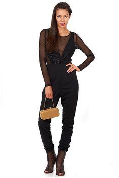 Black Mesh Cut Out Jumpsuit | #ustrendy www.Ustrendy.com