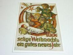 """vintage unused  greeting cards  ARS SACRA   B.I.Hummel """"merry christmas""""447"""""""