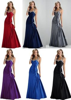 2014 Sexy evening prom bridesmaid dress Party Gown Stock Size 6 8 10 12 14 16