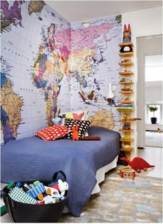 Map Wallpaper in kids room. Can't wait until I'm finished with the boys room! Bedroom Shelf Design, Shelves In Bedroom, Bed Shelves, Wooden Shelves, Bedroom Designs, Floating Shelves, Deco Kids, Map Wallpaper, Bedroom Wallpaper