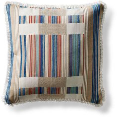 Chromata Sand Square Outdoor Pillow ($169) ❤ liked on Polyvore featuring home, outdoors, outdoor decor, outside garden decor, striped outdoor pillows, outdoor toss pillows and outdoor garden decor
