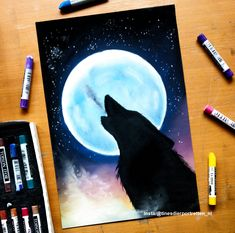 # Wolf painting I made with Check out the time lapse on ww . Oil Pastel Colours, Soft Pastel Art, Chalk Pastel Art, Chalk Pastels, Oil Pastels, Oil Pastel Paintings, Oil Pastel Drawings, Cute Drawings, Oil Pastel Landscape
