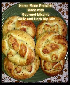 Home Made Pretzels made with Gourmet Mixems Garlic and Herb Dip Mix