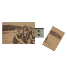 Beach Group 1920 Vintage Photograph Wood USB Flash Drive - girl gifts special unique diy gift idea