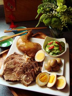 Soy Sauce Marinated Platter with Chicken, Eggs, and Meat   Dessert by Candy