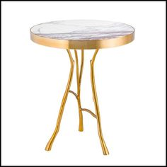 #Sidetable with #marble top on #gold finish structure 24-Branches Marble
