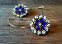 Earrings  Cobalt Shine  Bright Blue White and Gold  by AmaltheaCph, kr380.00