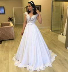 Beach Wedding Dress 2019 Cap Sleeve A-Line Chiffon Appliques Lace Princess Bride Dress Arabic Wedding Gown White Custom made Elegant Dresses, Pretty Dresses, Beautiful Dresses, Arab Wedding, Wedding Gowns, Gala Dresses, Bridal Dresses, Princess Bride Dress, Wedding Dress Sleeves