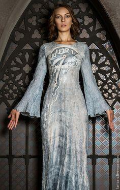 Купить валяное тонкое платье Ангел - серый, рисунок, валяная одежда, Мокрое валяние
