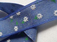Spitzenborte - Webband BLÜTE blau/weiß (25mm) ab 1Meter - ein Designerstück von Pearls-and-more bei DaWanda