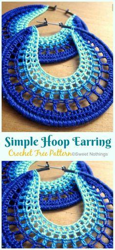 Hoop Earring Crochet Free Patterns - crochet and knitting - knitting is so easy . - Hoop Earring Crochet Free Patterns – crochet and knitting – knitting is as easy as 3 knit - Crochet Design, Crochet Pattern Free, Crochet Jewelry Patterns, Crochet Earrings Pattern, Knitting Patterns, Diy Crochet Jewelry, Crochet Accessories Free Pattern, Crochet Collar Pattern, Knitted Jewelry