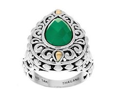 Mesmerize them with your bold sense of beauty with this JAI John Hardy Sterling 14K #Emerald Green Agate Pear Ring. #ColoroftheYear
