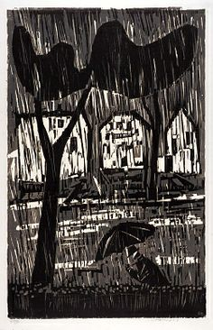 Rain by Werner Drewes / woodcut