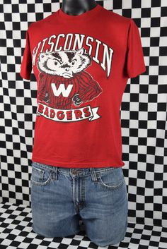 b2490abd 80s Wisconsin Badgers T-shirt / University of Wisconsin-Madison Tee Shirt /  Red / Thin / College Sports