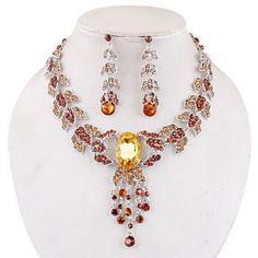 set Necklace Opera Rhinestone and Topaz Lizbeth Countess style Victorian