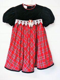 Vintage Girls Christmas Dress, Red Tartan Plaid Dress With Black Velvet and Lace, Size 4. # # Scarlett