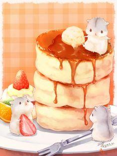 Cute Food Drawings, Cute Animal Drawings Kawaii, Hamster Kawaii, Chibi Food, Cute Food Art, Cute Hamsters, Food Illustrations, Cake Illustration, Cute Animals
