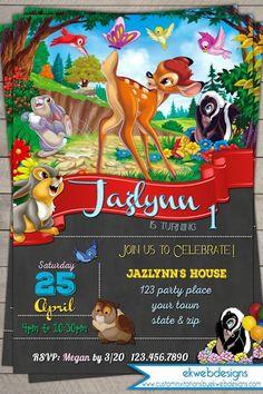 Disney Bambi Birthday Invitation, Printable file #2