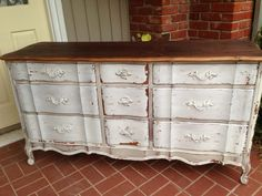 Vintage French Provincial Dresser Milk Paint Chippy White Pale Taupe on Etsy, $725.00