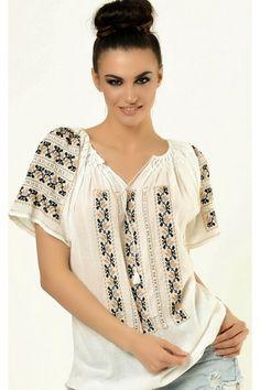 Ie Traditionala Romaneasca Maneca Scurta Motivul Laleaua Crem Folk Embroidery, Folk Fashion, Embroidered Clothes, Ukraine, Boho, Romania, Beautiful, Dresses, Women