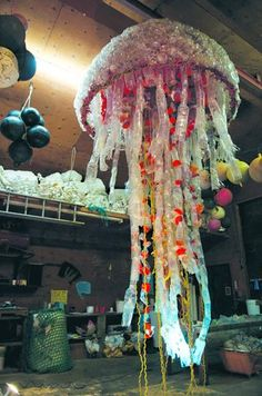 This 30-foot long and 8-foot in diameter jellyfish piece is made from marine debris found on the beaches of Homer during multiple community beach cleanup projects. Homer High School is borrowing the jellyfish and other pieces of marine debris art from the Center for Alaskan Coastal Studies to use as prom decorations April 9.  Photo provided