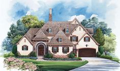 View this incredible 2 Story French Country house plan with 4005 Sq., 4 Bedrooms, and 5 Bathrooms. Contact Design Basics to learn more about this plan or for help finding plans that meet your criteria. French Country House Plans, European House Plans, French Country Bedrooms, Luxury House Plans, French Country Style, French Country Decorating, European Style, European Homes, European Plan
