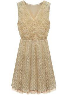 Perfect, Sweet & Simple Bride - VIntage Wedding Dress - VIntage Bride - V Neck Sleeveless Embroidery Lace Dress