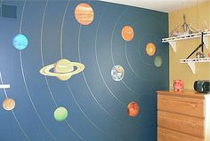 Boys' Room Idea. I've always wanted a solar system mural in there but not sure how to do it. This makes it simple.