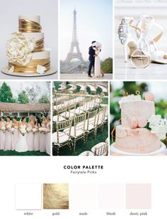 Color Palette: Fairytale Pinks. Neutrals are already a hit this year in weddings, so we put a feminine twist on the trend by blending in some soft pinks.