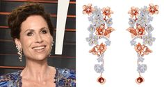 Minnie Driver at an Oscars after-party, wearing dangle earrings made in 18-karat rose gold with diamonds.