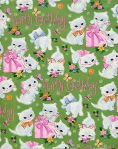 """VINTAGE 60s Kitty Cat w Pink Presents, BIRTHDAY Gift Wrap-Wrapping Paper-NOS #57 - $12.99. IDEAL to wrap your smaller gifts in retro style, this is a single sheet of UNUSED factory FOLDED gift wrap measuring approximately 20"""" x 29"""" by Tie-Tie. This crisp clean sheet is GUARANTEED TO BE VINTAGE and is free from odors and damage! Most of my gift wrap is acquired at local estate sales. Take advantage of COMBINED SHIPPING! You pay full shipping for the first sheet, and each additional s..."""