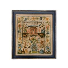 Megan Ann 1770 Antique Embroidery Needlepoint Sampler Framed | Etsy Learn To Sew, Needlepoint, Ann, Paper Crafts, Framed Prints, Blue Yellow, Pink Flowers, Colonial, Embroidery