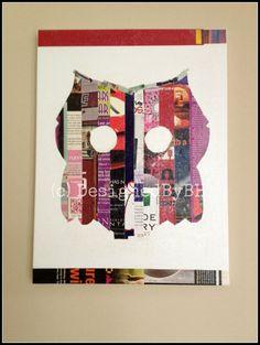 Big Owl Upcycled Magazine Strip Art on Canvas  by DesignedByBH