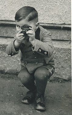 Antique Photograph German boy - 5 years old with a keen eye for photography. circa 1910.
