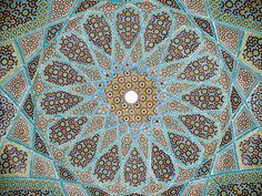Complex Mosaic patterns also known as Girih are popular forms of architectural art in many Muslim cultures. Tomb of Hafez, Shiraz, Iran