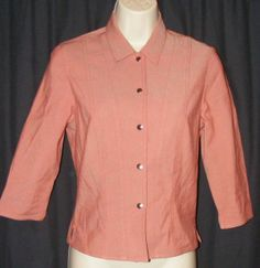 Worth Light Orange Cotton/Nylon Stretch 3/4 Sleeve Jacket P