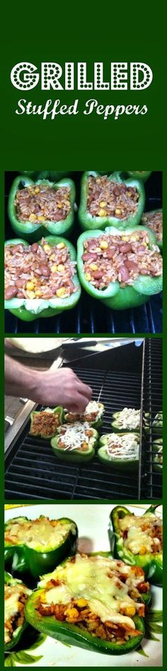 Grilled Stuffed Peppers - Southwestern family favorite! No need to use the oven to make stuffed peppers. #vegetarian #grilling