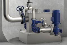 3D-Illustration von Tecmotion zur Darstellung einer Pumpstation mit Feststofftrennsystem AmaDS von KSB www.tecmotion.de www.ksb.com