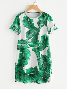 SheIn offers Palm Leaf Print Frilled Sleeve Dress & more to fit your fashionable needs. Women's Fashion Dresses, Casual Dresses, Short Sleeve Dresses, Dresses For Work, Dresses With Sleeves, Dress Outfits, Summer Dresses, Long Sleeve, Short Green Dress