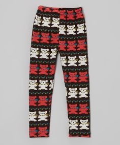 Take a look at this Coral & White Winter Teddy Bear Leggings - Toddler & Girls by Dolce Liya on #zulily today!
