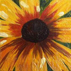 "wildflower -original encaustic painting 5.5""x5.5"""