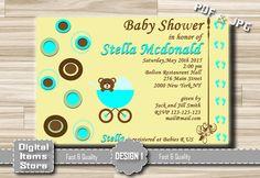 Baby Shower Invitation Baby Shower teddy bear by DigitalitemsShop