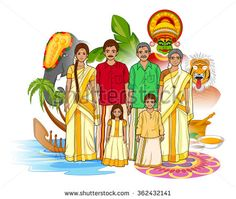 Vector design of Keralite family showing culture of Kerala, India