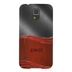Monogramed Red Wood Gray Metallic Texture Galaxy S5 Case