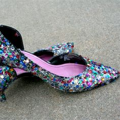 Just a few craft items needed to decorate a pair of boring heels into sequin beauties