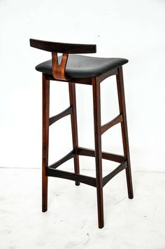Rosewood and Leather Bar Stools, Denmark, 1960s image 9