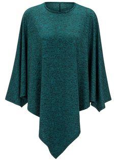Fashionmia - Fashionmia Round Neck Asymmetric Hem Plain Cape - AdoreWe.com